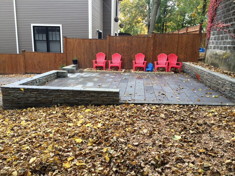completed stone walls and patio - somerville, ma