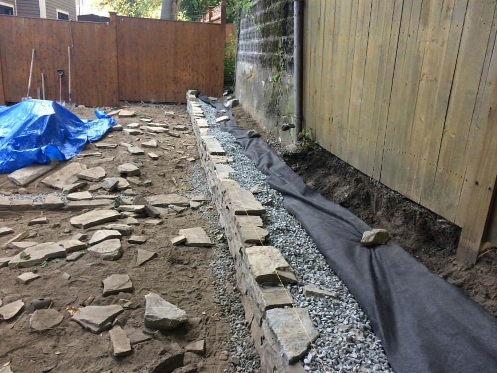 stone retaining wall - somerville, ma