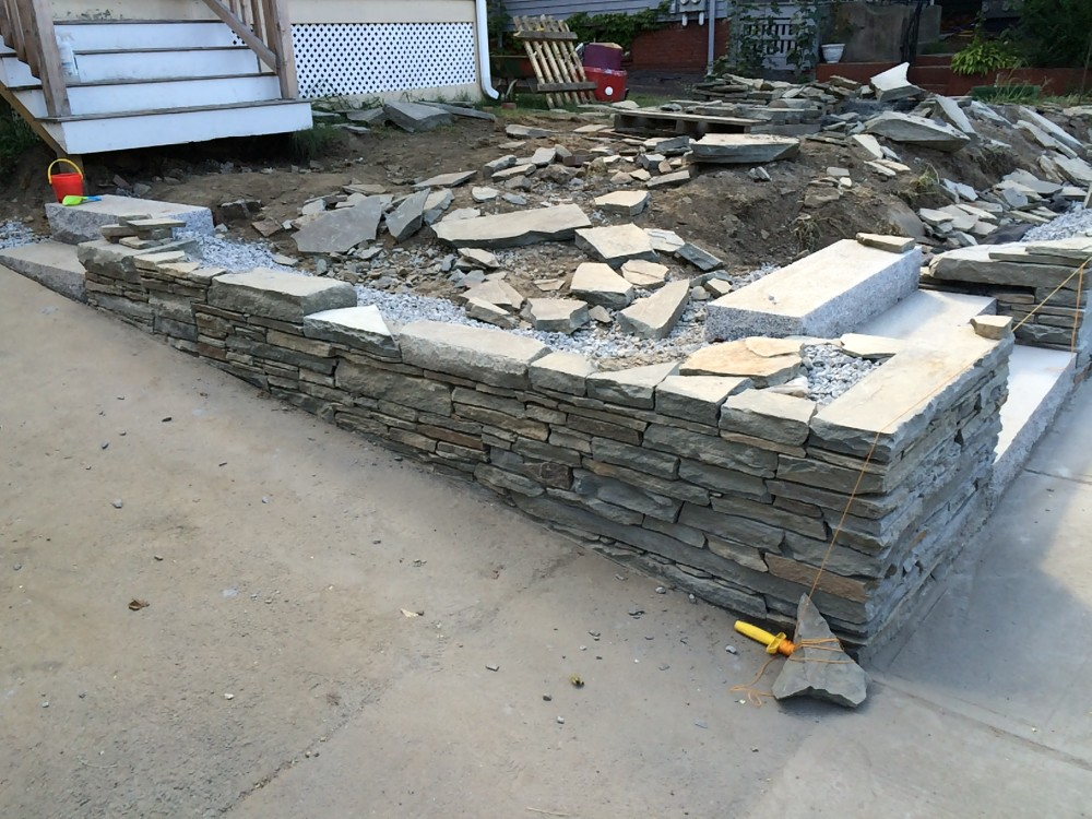 stone wall installation - somerville, MA