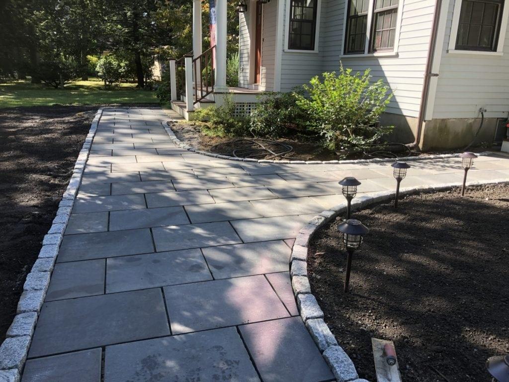 Bluestone Walkway w/ Granite Curbing - Concord, MA